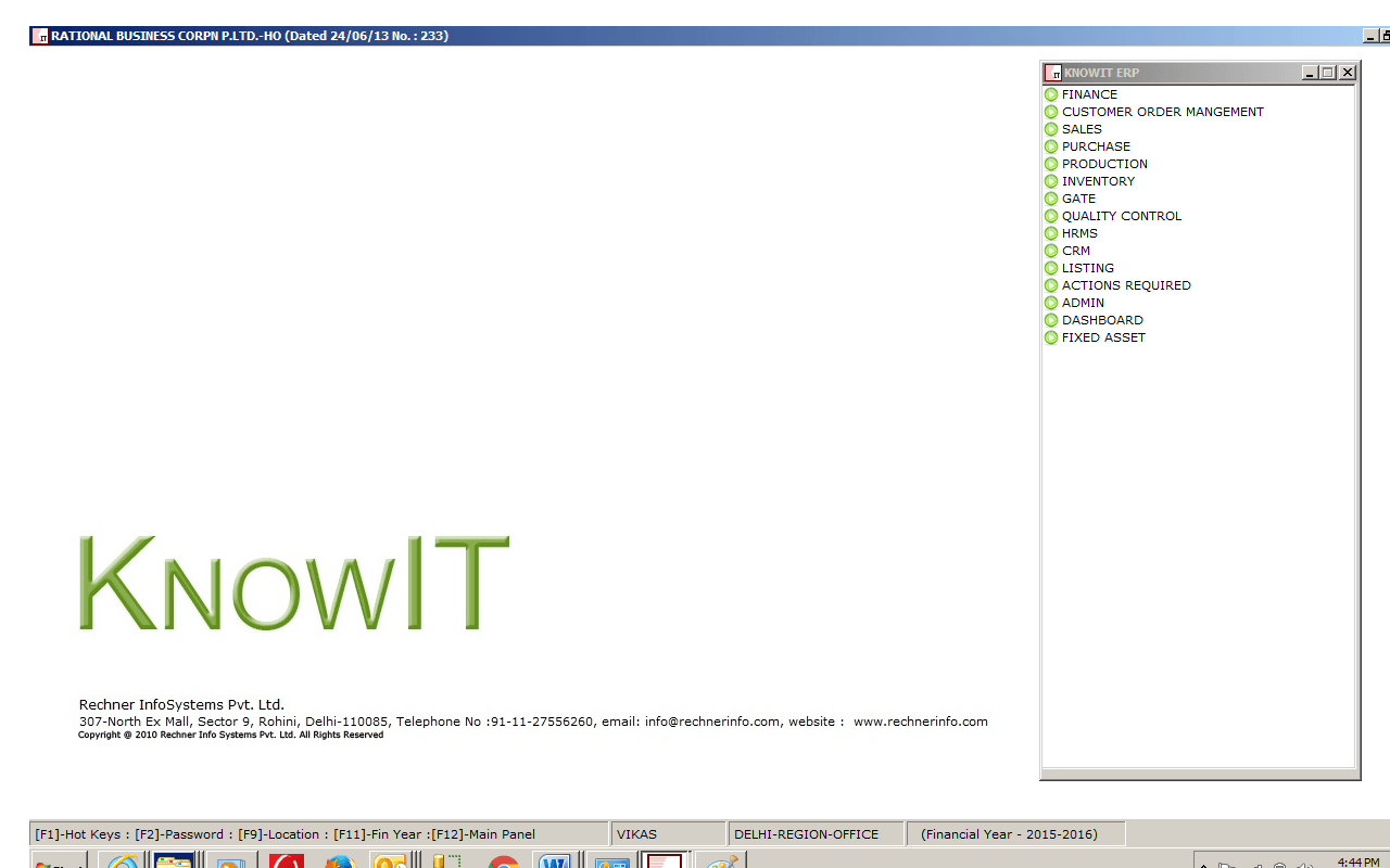 Knowit ERP Screenshots