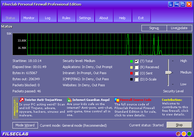 Filseclab Personal Firewall Professional Edition Screenshots