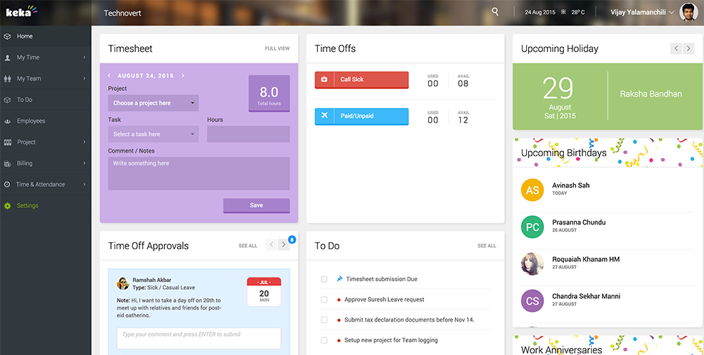 Keka HR Payroll Platform Screenshots
