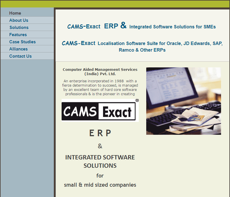 CAMS Exact Services CRM Screenshots