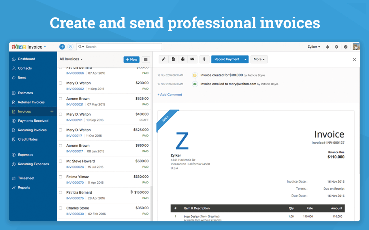 Zoho invoice pricing reviews alternatives and for Zoho invoice download