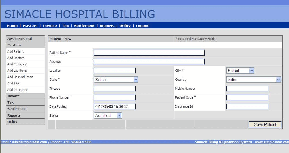 hospital management system software requirements